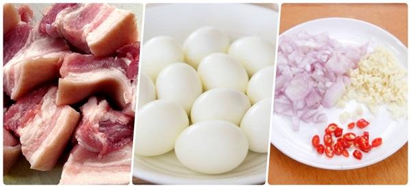 Nguyên liệu làm món thịt kho trứng