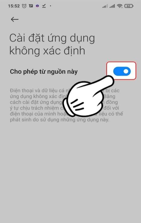 Nhấn nút cho phép cài đặt
