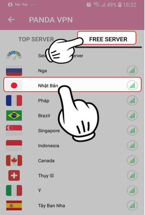 chờ ứng dụng kết nối VPN thành công